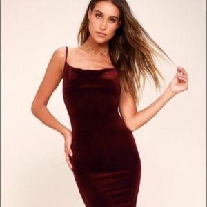 Lulus Jazzy Belle Velvet Burgundy Dress